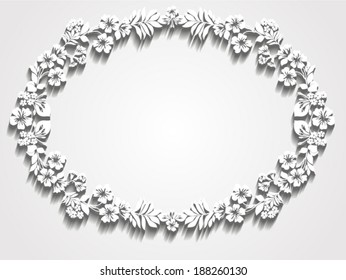 Paper wreath with shadow. Trendy Design Template. vector illustration