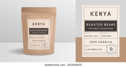 Paper zip package, pouch mockup. Vintage trendy label, sticker template. Coffee zip package design. Package mockup template for logo, brand, sticker, label. Vector illustration