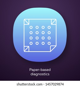Paper-based diagnostics app icon. Biosensor. Quick analysis results. Biotechnology. UI/UX user interface. Web or mobile application. Vector isolated illustration