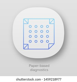 Paper-based diagnostics app icon. Biosensor. Quick analysis results. Biotechnology. UI/UX user interface. Web or mobile applications. Vector isolated illustrations