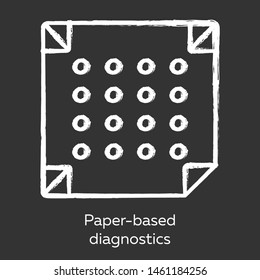 Paper-based diagnostics chalk icon. Biosensor. Point of care diagnosis in miniaturized settings. Quick analysis results. Biotechnology. Isolated vector chalkboard illustration
