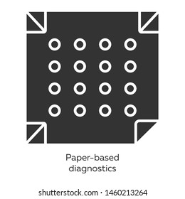 Paper-based diagnostics glyph icons set. Biosensor. Point of care diagnosis in miniaturized settings. Quick analysis results. Biotechnology. Silhouette symbols. Vector isolated illustration