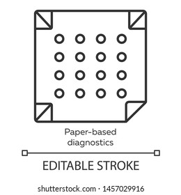 Paper-based diagnostics linear icon. Biosensor. Quick analysis results. Biotechnology. Thin line illustration. Contour symbol. Vector isolated outline drawing. Editable stroke