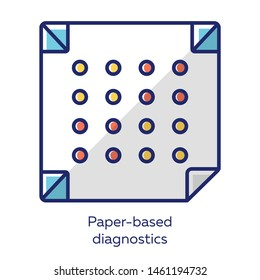Paper-based diagnostics white color icon. Biosensor. Point of care diagnosis in miniaturized settings. Quick analysis results. Biotechnology. Isolated vector illustration