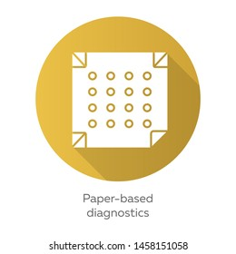 Paper-based diagnostics yellow flat design long shadow glyph icon. Biosensor. Point of care diagnosis in miniaturized settings. Quick analysis results. Biotechnology. Vector silhouette illustration