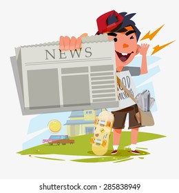 paperboy character showing newspaper and shouting. paperboy with blank paper to replace your content. announcement concept - vector illustration