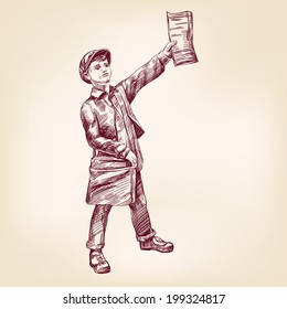Paperboy selling news papers hand drawn vector llustration realistic sketch
