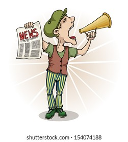 Paperboy selling news papers and shouting, vector illustration