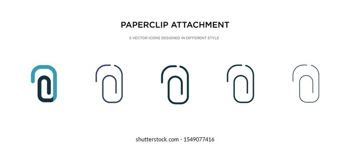 paperclip attachment icon in different style vector illustration. two colored and black paperclip attachment vector icons designed in filled, outline, line and stroke style can be used for web,