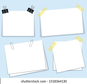 paperclip with blank white notepaper. White sheet for your message or adding more text. Vector illustration flat design. Isolated on white background. Template for memo. Notebook space