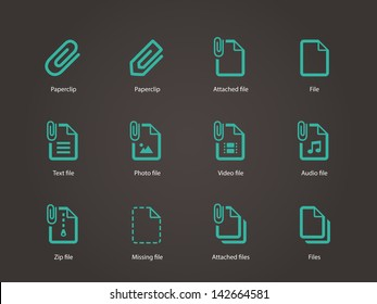 Paperclip file icons on brown background. Vector illustration.