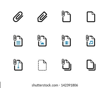 Paperclip file icons on white background. Vector illustration.