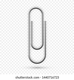 Paperclip icon. Realistic Paper clip attachment with shadow. Attach file business document. Vector illustration isolated on transparent background