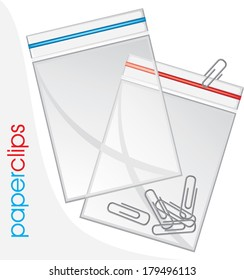 Paperclips in plastic bag isolated on the white. Vector