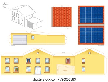 Papercraft Model Of A House With Solar Thermal Collector On The Roof Photovoltaic Technology