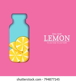 Papercut bottle with slice citrus lemon fruit. Vector card llustration. Tropical craft paper yellow lime fruit border and detox water cocktail for design of food packaging juice, cosmetics, tea, diet