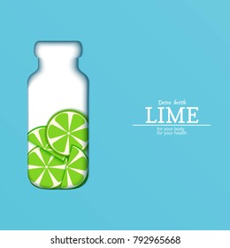 Papercut bottle with slice citrus lime fruit. Vector card llustration. Tropical craft paper green lemon fruit border and detox water cocktail for design of food packaging juice, cosmetics, tea, diet.
