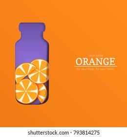 Papercut bottle with slice citrus orange fruit. Vector card llustration. Tropical craft paper oranges fruit border and detox water cocktail for design of food packaging juice, cosmetics, tea, diet.
