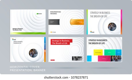 Paper-cut design presentation template with colourful circles shadows. Abstract vector set of modern horizontal banners