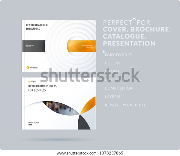 Paper-cut design soft presentation template with colourful circles shadows. Abstract vector set of modern horizontal banners