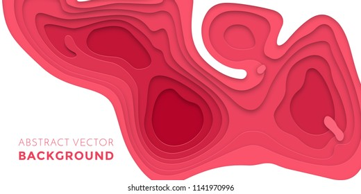 Papercut geometric topography poster or paper cut liquid geometric purple red gradient pattern with red pink 3D multi layer on white background banner