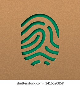 Papercut human finger print. Green fingerprint cutout concept in recycled paper for nature connection.