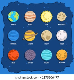 Papercut planet collection. Planet collection with sun, venus, earth, neptune,saturn, pluto, moon, mars, uranus, mercury, spaceship, satellite, comet, rocket. Planet collection for your space design.