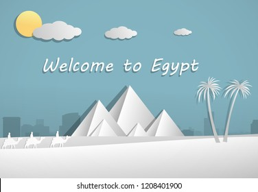 Papercut of Pyramid in Egypt, vector art