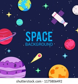 Papercut space background. Cartoon universe background with earth, comet, pluto, moon, mars, star. Astronomy background.