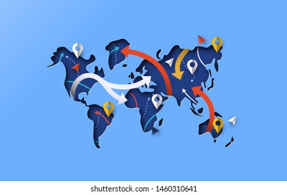 Papercut world map with gps icons and paper route arrows. Modern blue color illustration in 3d cutout style for globe navigation or travel app concept.