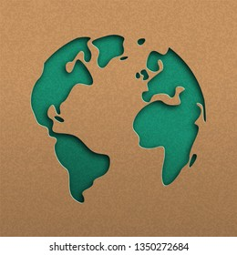 Papercut world map illustration. Green cutout earth in recycled paper for planet conservation awareness.