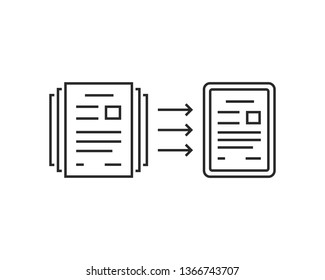 paperless concept of evolution to digital files. flat stroke trend modern lineart logotype graphic art design isolated on white background. concept of information security or save environment