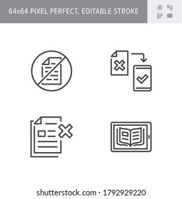 Paperless line icons. Vector illustration included icon as less paperwork, digital office, bureaucracy outline pictogram of electronic document management. 64x64 Pixel Perfect Editable Stroke.