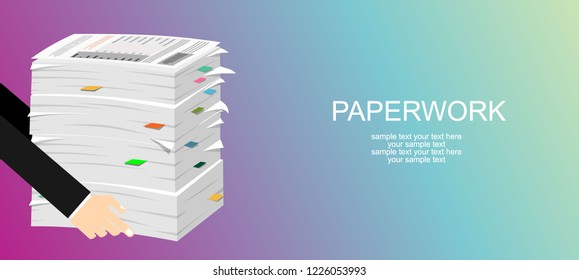 Paperwork. Flat background with paper. Office and emailing. Daily routine.