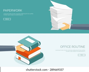 Paperwork. Flat background with paper. Office and emailing. Books and knowledge.Daily routine.