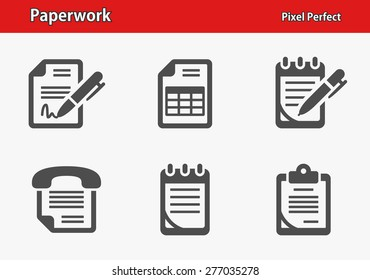 Paperwork Icons. Professional, pixel perfect icons optimized for both large and small resolutions. EPS 8 format. Designed at 32 x 32 pixels.