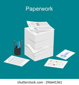 Paperwork illustration. Stack of paper illustration.