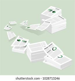 Paperwork illustration. Stack of paper illustration. piled paper.