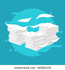 Paperwork and routine. Vector illustration. Documents. Stack, pile of paper.