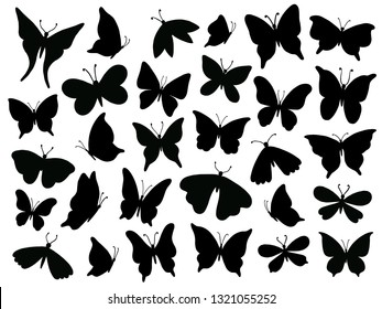 Papillon silhouette. Mariposa butterfly wing, moth wings silhouettes and spring flower butterflies. Fluttering monarch insect or papillon isolated vector illustration icons set