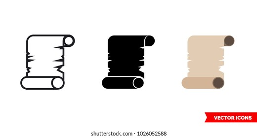 Papirus icon of 3 types: color, black and white, outline. Isolated vector sign symbol.