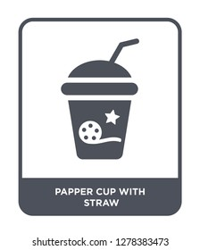 papper cup with straw icon vector on white background, papper cup with straw trendy filled icons from Cinema collection, papper cup with straw vector illustration