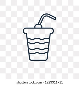 Papper Cup with Straw vector outline icon isolated on transparent background, high quality linear Papper Cup with Straw transparency concept can be used web and mobile