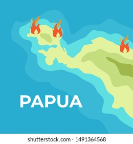 Papua Island Chaos because march protesting against a political issue illustrated with Fire