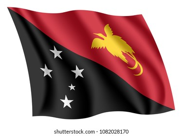 Papua New Guinea flag. Isolated national flag of Papua New Guinea (PNG). Waving flag of the Independent State of Papua New Guinea. Fluttering textile papua new guinean flag.