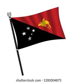 Papua New Guinea flag , flag of Papua New Guinea waving on flag pole, vector illustration EPS 10.