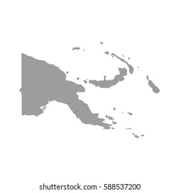 Papua New Guinea map in gray on a white background