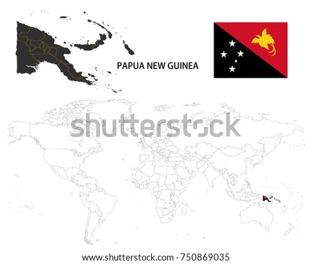 Papua New Guinea Map On World Stock Vector (Royalty Free) 750869035 ...
