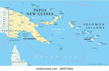 Papua New Guinea Political Map with capital Port Moresby, national borders, most important cities, rivers and lakes. Illustration with English labeling and scaling.