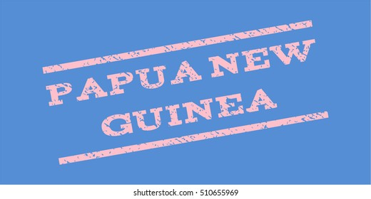 Papua New Guinea watermark stamp. Text tag between parallel lines with grunge design style. Rubber seal stamp with dirty texture. Vector pink color ink imprint on a blue background.